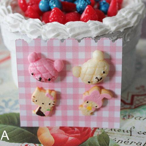Kawaii Fairy Key Post Earrings Set Dessert Candy Cats Bunny Kitty Cookie Cake