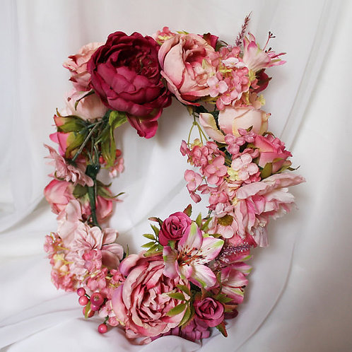 Pink Rose and Carnation Flower Crown