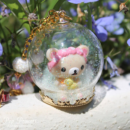 Rilakkuma Relax Bear with Rubber Ducky in Snow Globe Necklace Terrarium