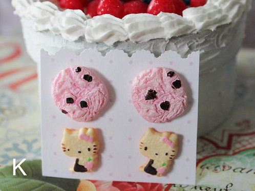 Kawaii Fairy Key Post Earrings Set Dessert Candy Cats Bunny Kitt