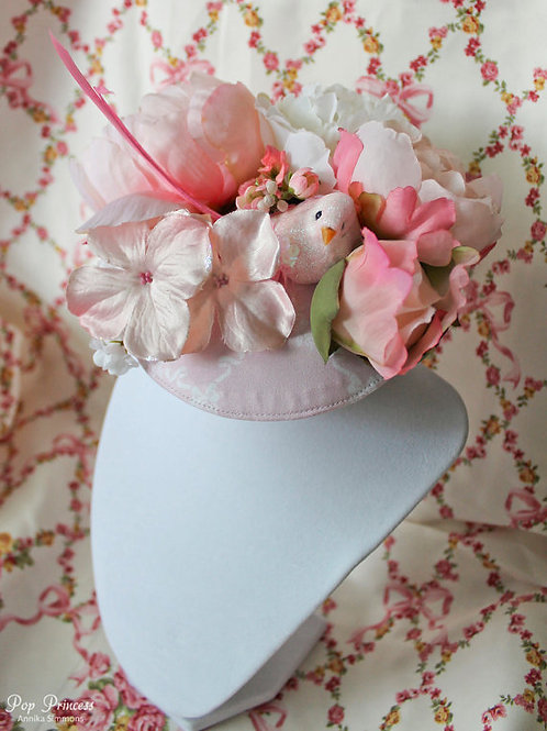 Pink Bird and Flower Fascinator