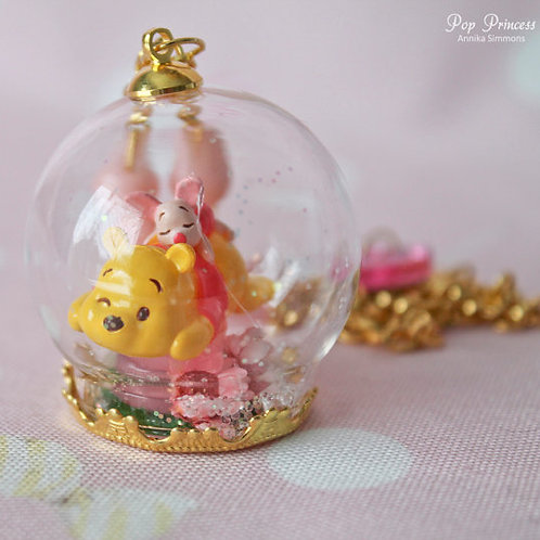 Kawaii teddy bear and piggy necklace
