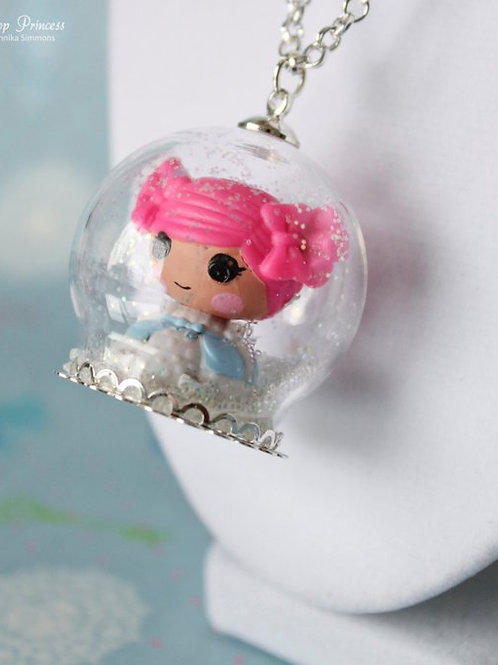 Doll Princess in Snow, Hearts, Stars Glass Snow Globe Necklace
