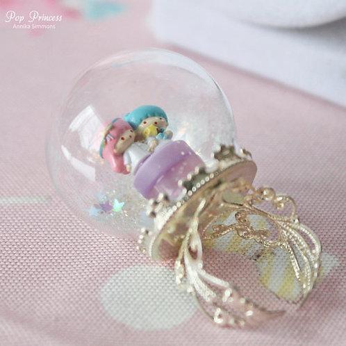 Little Twin Stars Snow Globe Ring