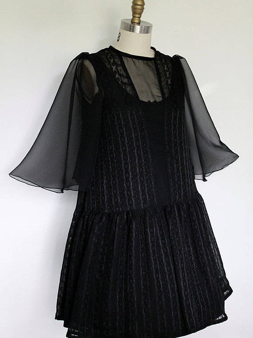 Black Witchy Chiffon Dress with Bell Sleeves