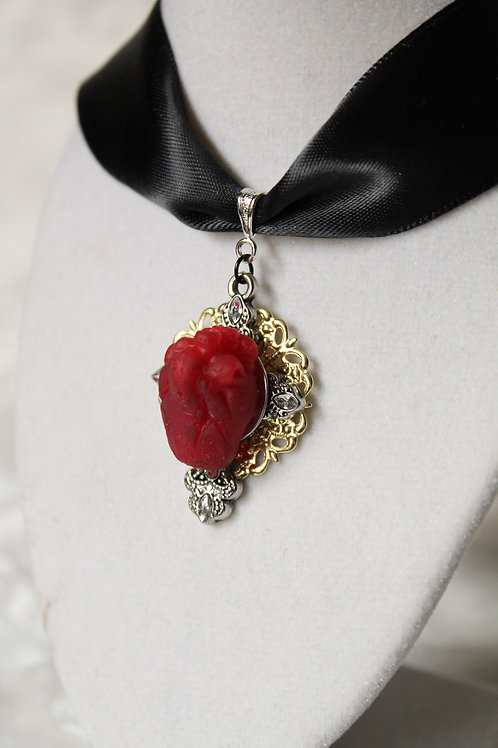 Anatomical Sacred Heart Choker Necklace