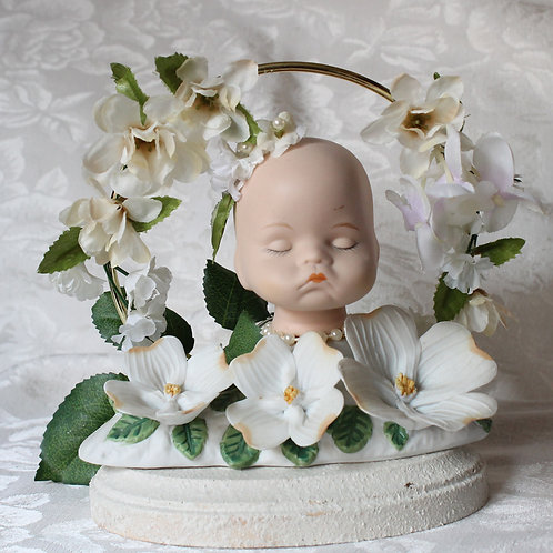 Enchanted Fae Doll Head Porcelain Lamp