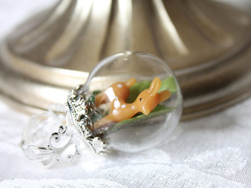 Kawaii Bambi Deer Snow Globe Ring