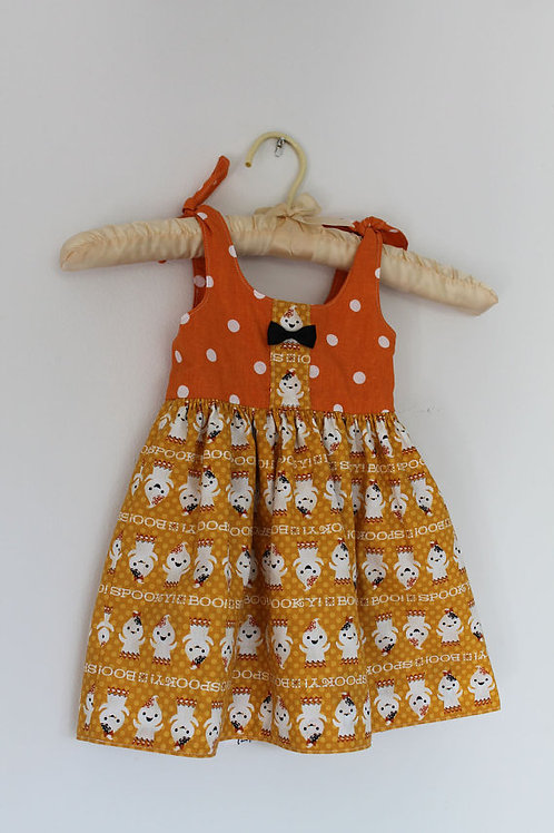 Reversible Orange Ghost Toddler Dress