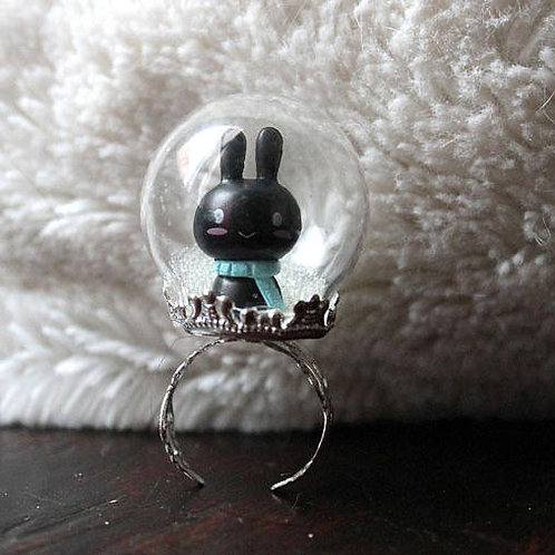 Kawaii Bunny Rabbit Snow Globe Ring
