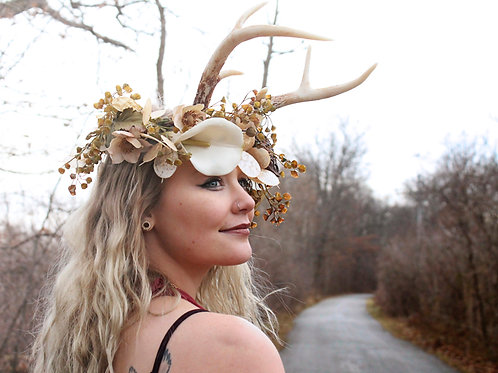 Flower Wreath and Natural Antlers Headband