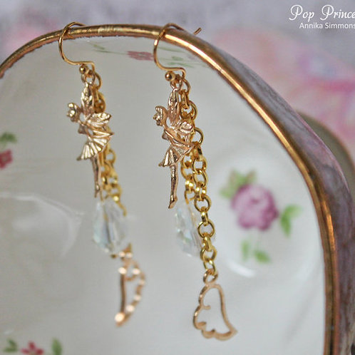 Tinkerbell Fairy Angel Gold Earrings
