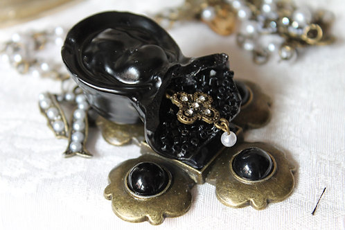 Victorian Black Porcelain Bisque Doll on Cross