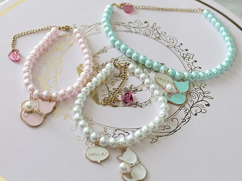 Fairy Kei Pastel Pearl Kitty Cat Choker Necklace