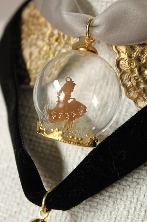 Alice in Wonderland Snow Globe Pendant