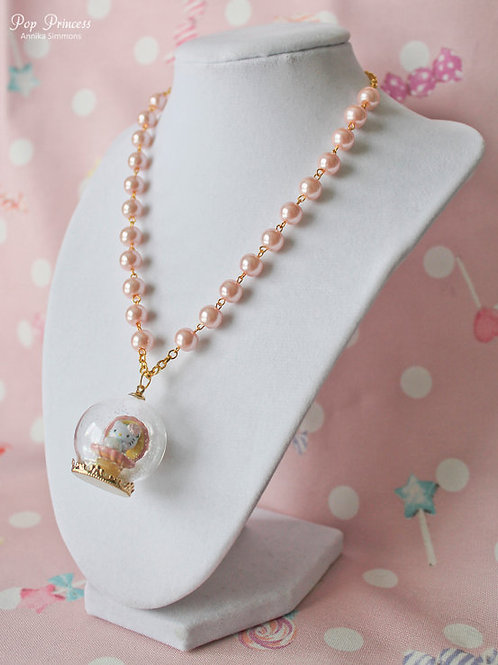 Pink Princess Kitty Pearl Necklace