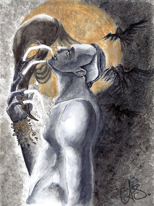 OMEN 5x7 Print of Original Watercolor Painting, Full Moon Gothic Witch Ravens