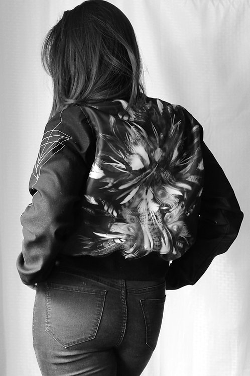 Holographic Feathers Black and White Satin Bomber Jacket