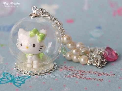 Charmmy Kitty Cat in Snow, Hearts, Stars Glass Globe Necklace Terrarium