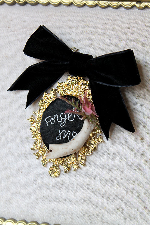 Forget Me Gold and Black Cameo Brooch