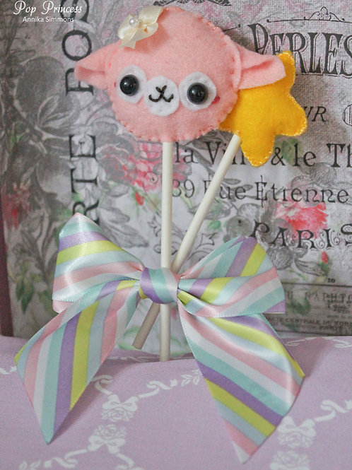 Kawaii Pink Alpaca Lollipop Brooch