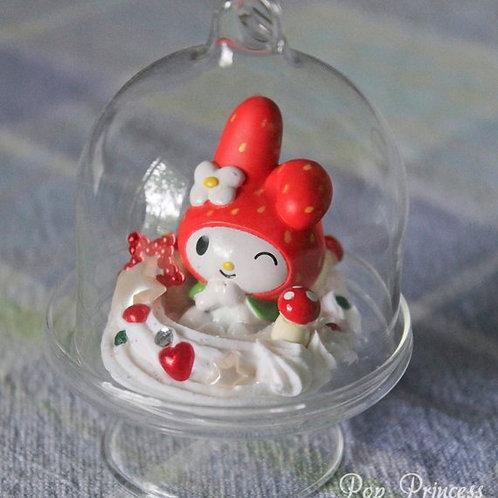 Kawaii Red Strawberry My Melody Bunny, Sweet Dessert Terrarium Glass Globe