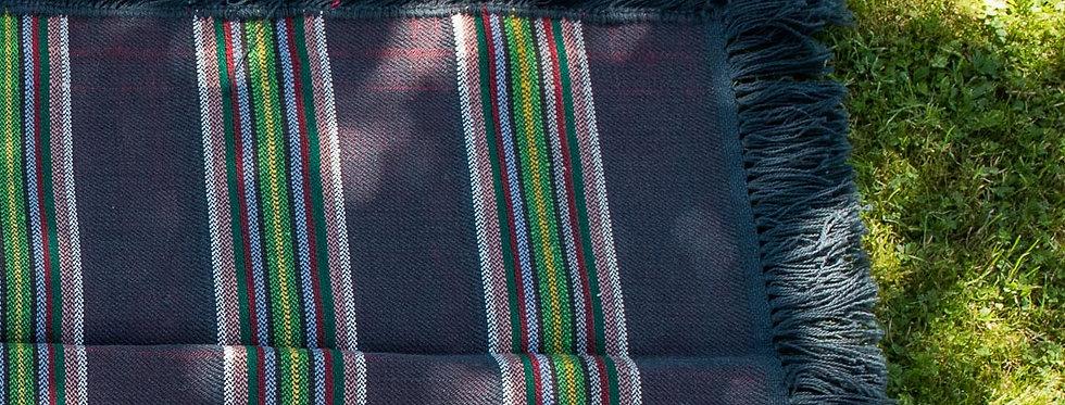 koc - pled dwustronny tkany ręcznie - technika dwuosnowowa
