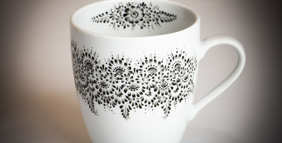kubek ceramiczny RĘCZNIE MALOWANY - wzór opolski