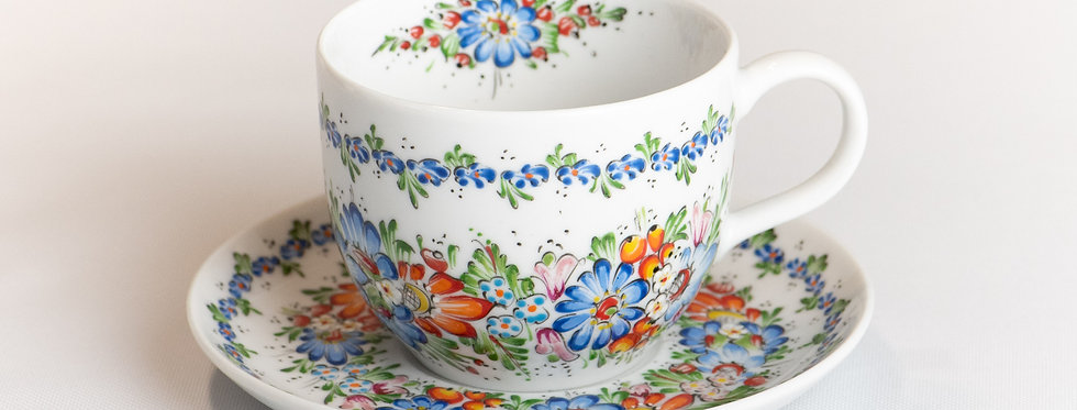 zestaw filiżanka z talerzykiem - RĘCZNIE MALOWANY - ceramika opolska