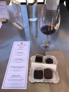 Chocolate and Red Wine menu VJB Cellars.