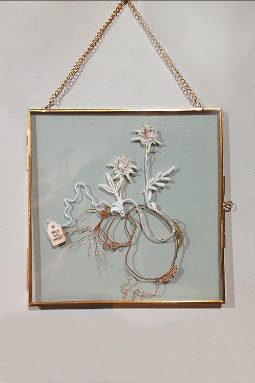 """Objets d'Art // Herbier Textile """"Fleurs aux nuages"""""""""""