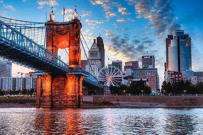 Roebling Bridge in front of the downtown Cincinnati Skyline on the Ohio River