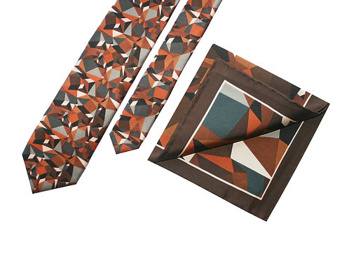 The Prism Tie & Pocket Square Rust - Gift Set