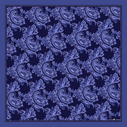 The Floral Paisley Pocket Square - Navy