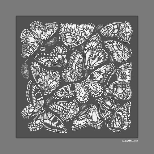 The Tropical Butterfly Pocket Square - Charcoal