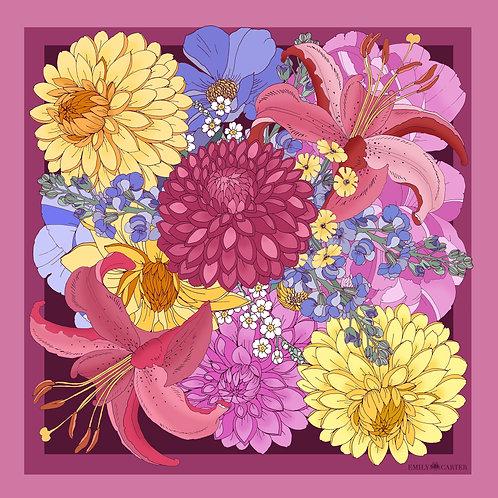 The Dahlia Bouquet Neckerchief - Cerise