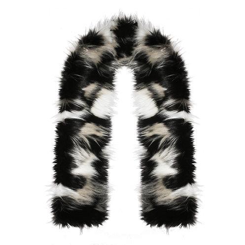 Leopard Faux Fur Scarf - Grey