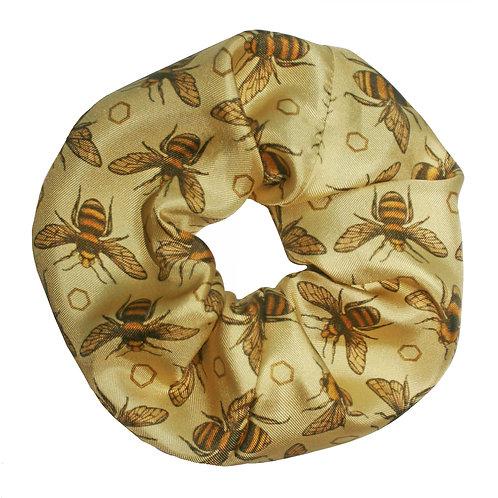 Upcycled Silk Hair Scrunchie - British Bees