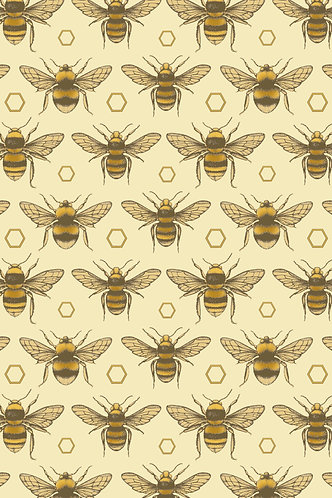 British Bees Wrapping Paper - Yellow