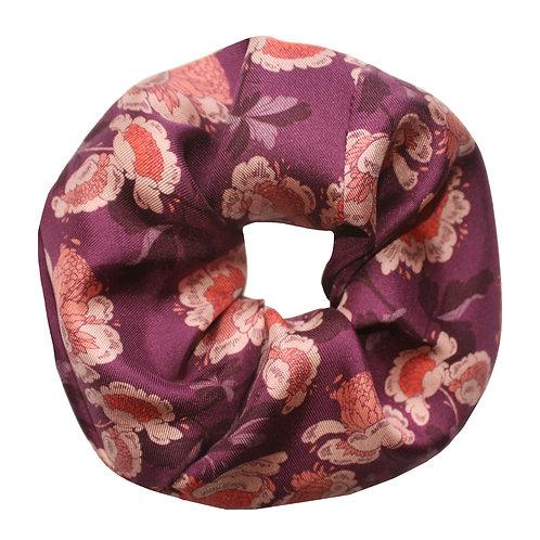 Upcycled Silk Hair Scrunchie - Oriental Floral