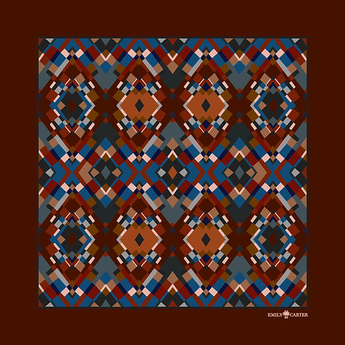 Jewelled Pocket Square - Rust