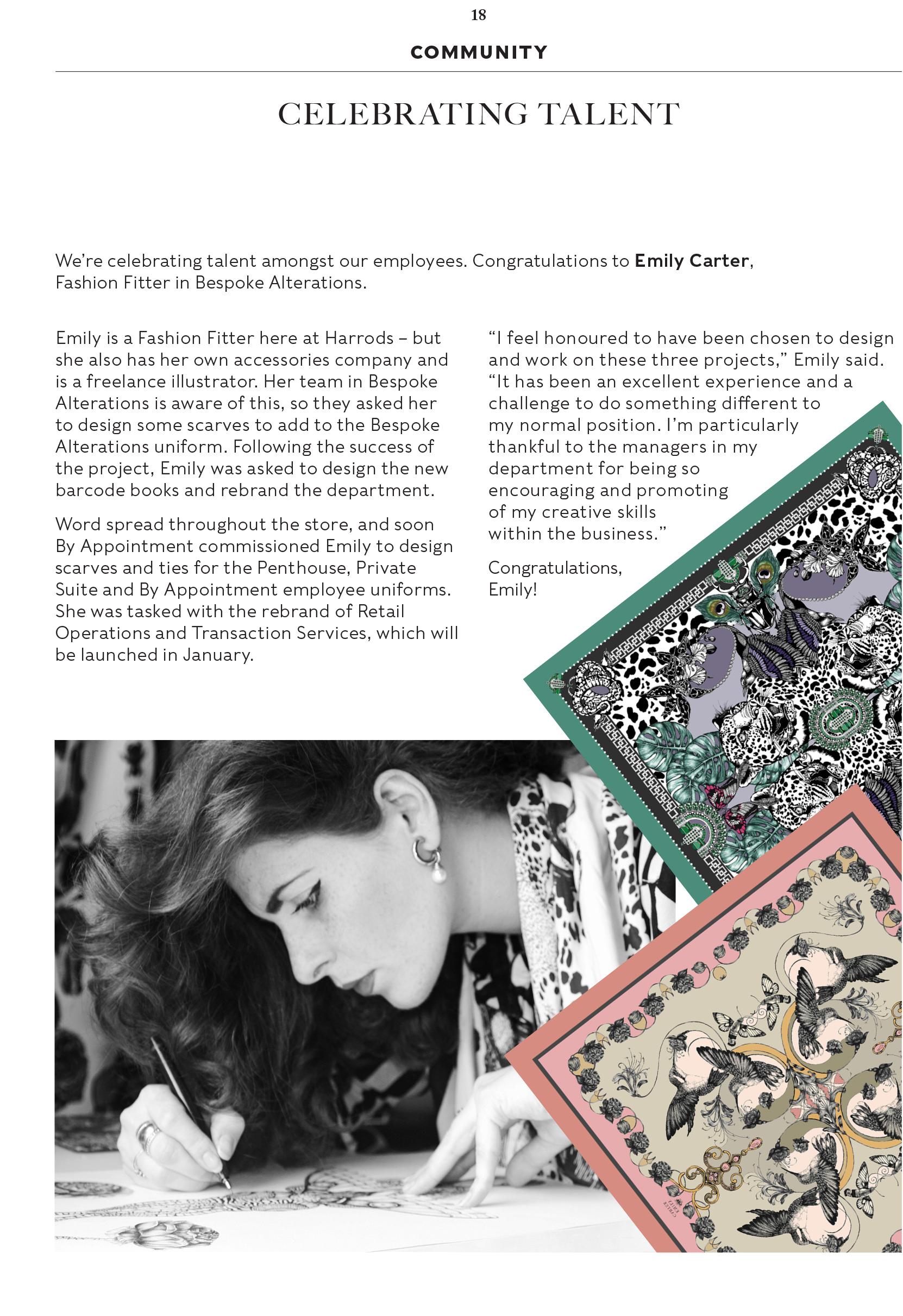 Emily Carter Press: Harrods Magazine