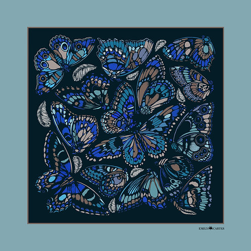 The Tropical Butterfly Pocket Square - Cornflower