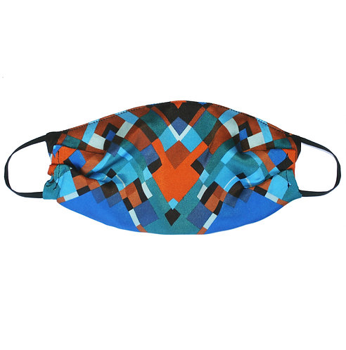 Upcycled Silk Face Mask (Non-Medical) - Turquoise Geometric