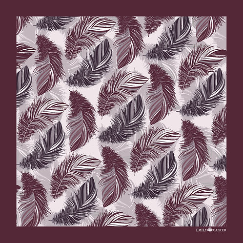 The Feather Pocket Square - Maroon