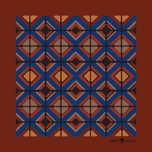The Tile Pocket Square - Rust