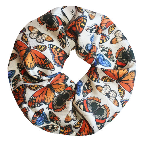 Upcycled Silk Hair Scrunchie - British Butterfly Cream