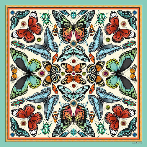 The Tropical Butterfly Silk Scarf - Turquoise - 68 x 68 cm