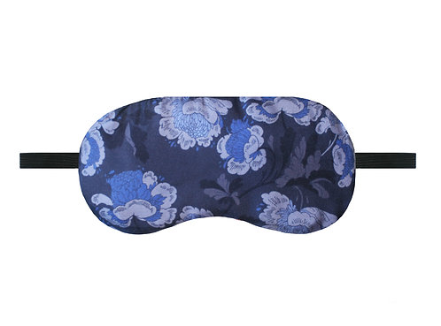 Silk Sleep Mask - Indigo Oriental Floral