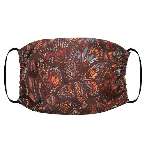 Adjustable Silk Face Mask (Non-Medical) - Tropical Butterfly Terracotta